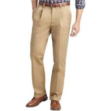 IZOD NWT Mens Pleated Metrix Fit Chino Dress Pants 36 34 Khaki Career Tan 144