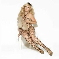 PLUS SIZE LINGERIE One Size Queen Black Diamond Net Bodystocking  EM8620Q