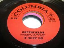 """Folk  45 THE BROTHERS FOUR Greenfields on Columbia 7"""""""