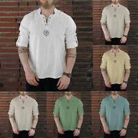 Mens Summer Cotton-linen Top Loose Casual Shirt Pure Long Sleeve Blouse S-2XL AU