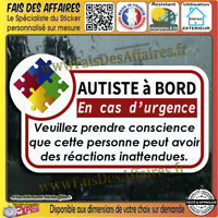 Stickers Autocollant autiste à bord handicape autisme sécurité Fauteuil decal