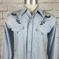 Bar B Extra Long Western Pearl Snap Shirt Cowboy Rodeo Embroidered Blue size M