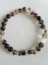Black moss quartz, Hematite cube, & sterling silver  bead bracelet 6mm handmade