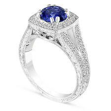 Vintage Style Blue Sapphire Engagement Ring 1.58 Carat Platinum Hand Engraved