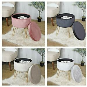 Round Velvet Ottoman Footrest Stool Compact Vanity Seat With Storage And Lid