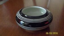 MINT Vintage little black high glaze white striped MULL trinket bowl HOLLAND