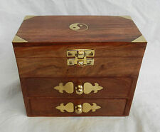 Wooden Box Chest with Drawers, Brass Inlay and Yin Yang Decoration - BNIB