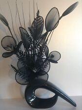 Artificial Flower Arrangement Made With Black Nylon Flowers In Black Vase