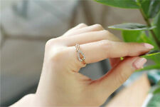 Fashion Womens Gold Plated Crystal Rhinestone Leaf Finger Ring Chic Jewelry Gift