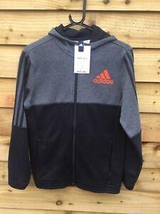 Adidas Age 13/14 Years Grey And Black Full Zip Hoodie