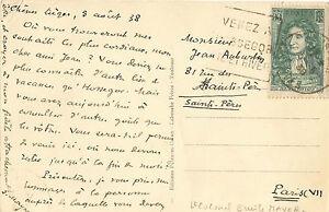 Emile MAYER.  Carte postale autographe signée à Jean Auburtin.