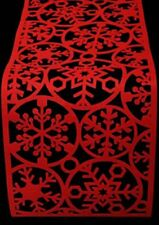 Christmas Red Felt Snowflake Table Runner 120cm x 30cm