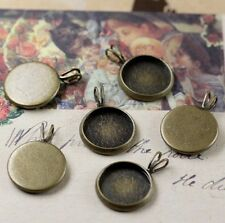 20PCS Antiqued Bronze 12mm Round Blank Charm Pendant Settings #22705