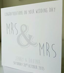 PERSONALISED Handmade Wedding Card Mrs & Mrs Choice of colours Civil Gay GREY