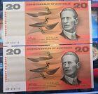 Australia: 1968 Paper $20 UNC Consec Pair, Cat $800, Phillips Randall