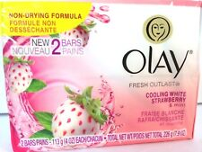 Olay Fresh Outlast Bar Soap 2 Count Cooling White Strawberry Mint Scent 4 Oz EA