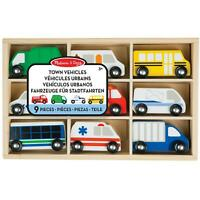 Melissa & Doug Wooden Town Vehicles Set in Wooden Tray, Imaginative Play, Age 3+
