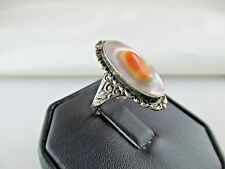 Antique Blister Pearl Sterling Silver Ring Art Nouveau 378C
