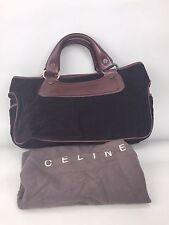 CELINE Brown Corduroy Leather Designer Purse Handbag BOHO In For Spring