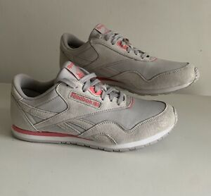 Reebok Womens Grey Suede And Pink Classic Trainers Size UK 8 Worn Once!