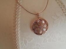 ROSE GOLD PLATED (SS) SIM. DIAMOND FLOWER DESIGN (PENDANT ONLY)