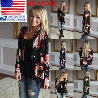 US Womens Boho Floral Long Sleeve Coat Casual Wrap Cardigans Jacket Tops Blouse