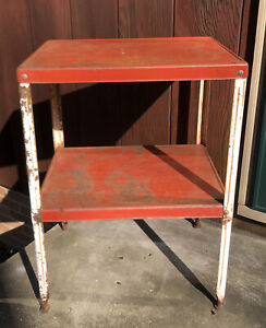 Vintage Mid Century Two Tiered Metal RED industrial Plant Stand Table