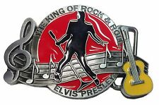 Elvis Presley The King Of Rock & Roll Yellow Guitar Metal/Enamel Belt Buckle