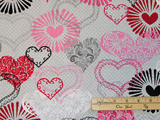 Adore Grey Large Hearts Valentine Kiss XOXO Fabric by the 1/2 Yard  #1036-90