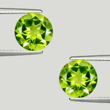 TOP LUSTROUS BEST GREEN * 5.77 ct  NATURAL PERIDOT - Round Pair  - See Vdo !