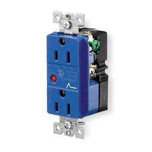HUBBELL WIRING DEVICE-KELLEMS IG5262SA Receptacle,Deco,15A,5-15R,125V,Blue