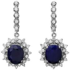 11.40Ct Natural Sapphire and Diamond 14K Solid White Gold Earrings
