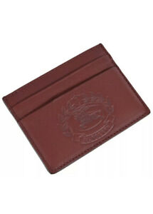 NWT Authentic Burberry Crimson Red Leather Embossed Crest Cardholder