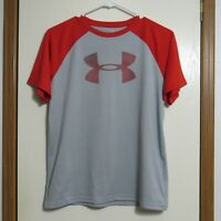 Under Armour Boys Heat Gear Shirt Gray and Orange Loose Size YLG Youth Large
