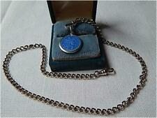 "Vintage Thomae Co. Enamel St Christopher Medal 16"" Sterling Watch Chain/Necklace"