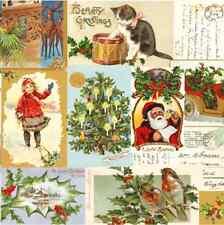 Christmas 20 Paper Lunch Napkins VINTAGE CHRISTMAS Tree Santa Claus Mistletoe