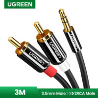 UGREEN 3m Stereo 3.5mm Klinke auf 2 Cinch Y Splitter Chinch Kabel Audiokabel