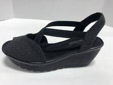 Skechers JellyRoll Black Wedge Sandals Women's Size 7M 41102/BLK