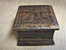 Antique Hand Carved WOODEN TOBACCO BOX - South Pacific Chief & Elder Gift