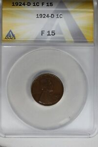 1924-D   .01   ANACS   F 15    Lincoln Head Cent, Lincoln One Cent