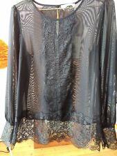 GENUINE NEW BLACK ROSEMUNDE DENMARK DESIGNER TOP/BLOUSE SIZE 38 vintage Lace