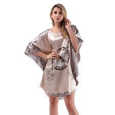 Pyjama Femme Vêtement Chemise de Nuit ample en Soie Beige/gris motifs chevaux