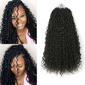 "14"" Goddess Faux Locs Afro Curls River Locs Crochet Braids Twist Hair Extensions"