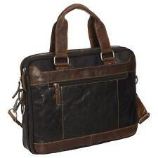 New Jack Georges Voyager Slim Two-Tone Leather Briefcase Black/Brown MSRP $ 358