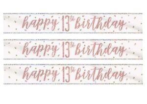 GLITZ WHITE & ROSE GOLD AGE 13 FOIL BANNER HAPPY BIRTHDAY TABLEWARE HOLOGRAPHIC
