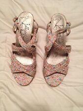 "JELLYPOP ""Mishi"" Floral Print 3 3/4"" Platform Heels Sandals Size 9B"