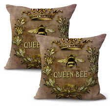 Us Seller- set of 2 decorated homes queen bee wreath crown insect cushion cover