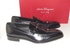 SALVATORE FERRAGAMO BLACK GANCINI-BIT LEATHER LOAFERS SIZE 11D