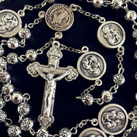 SILVER Rose bead ST. JOSEPH Rosary & Italy Crucifix Cross catholic necklace