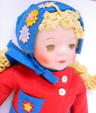 """1930s Georgene Novelties 26"""" Cloth Face Doll In Felt Red/Blue Winter Outfit 3031"""